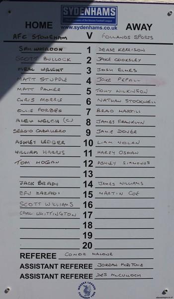 AFC Stoneham (3) v Follands (2) 22.4.2017