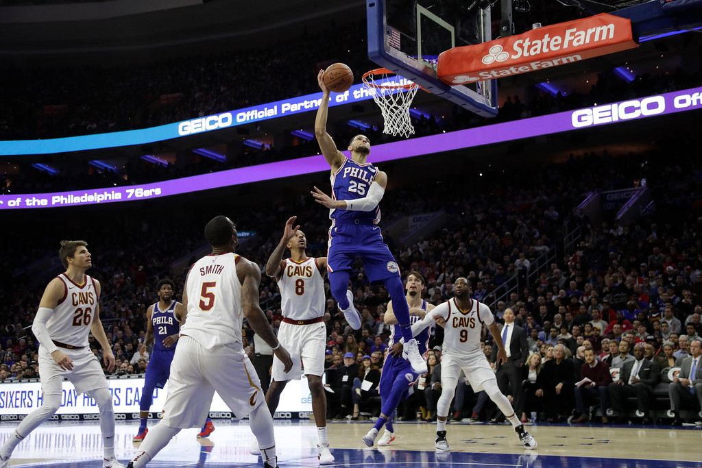 . Philadelphia 76ers\' Ben Simmons in action during an NBA basketball game against the Cleveland Cavaliers, Monday, Nov. 27, 2017, in Philadelphia. (AP Photo/Matt Slocum)