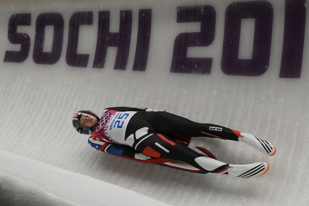 . US Summer Britcher competes during the Women\'s Luge Singles run two at the Sliding Center Sanki during the Sochi Winter Olympics on February 10, 2014.   AFP PHOTO / LIONEL BONAVENTURE/AFP/Getty Images
