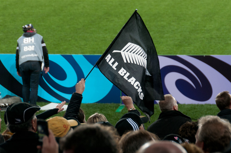 All Blacks flag waving at the 2011 Rugby World Cup Final in New Zealand