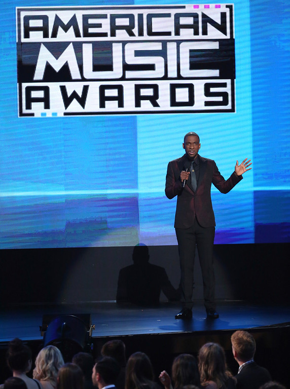 . Host Jay Pharoah speak at the American Music Awards at the Microsoft Theater on Sunday, Nov. 20, 2016, in Los Angeles. (Photo by Matt Sayles/Invision/AP)
