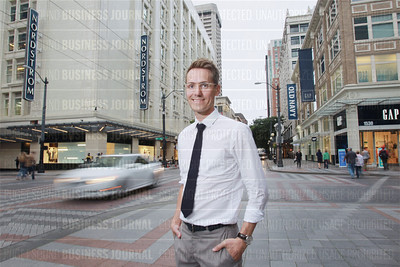 Tov Arneson, chief executive officer of Validated, is pictured in the heart of downtown's bustling downtown corridor in Seattle, Wash.