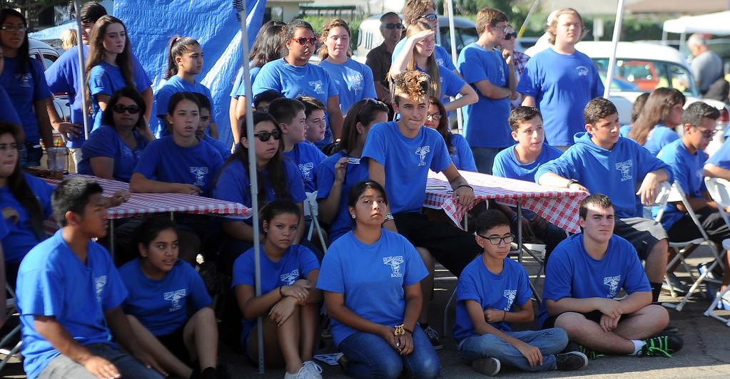 . La Habra high school band members listen to speeches during the 4th annual La Habra Highlanders car show at La Habra High School in La Habra Calif. on Saturday, Sept. 7, 2013.   (Photo by Keith Birmingham/Pasadena Star-News)