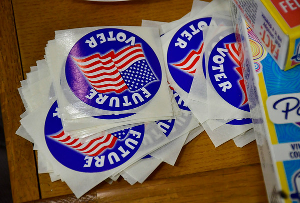 11/5/2019 Mike Orazzi | StaffrVoting stickers at the South Side School on election day in Bristol.