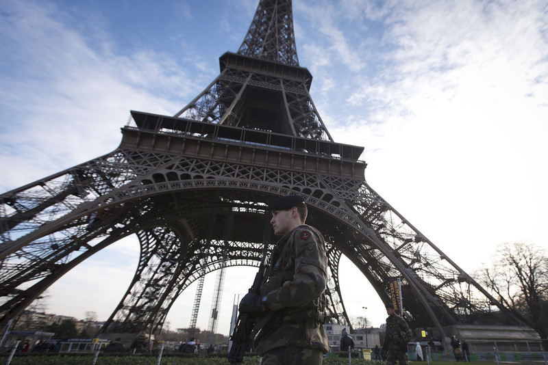 . Soldiers patrol under the Eiffel Tower on January 14, 2013 in Paris. Islamist forces based in northern Mali vowed Monday to avenge France\'s fierce military offensive against them on French soil. JOEL SAGET/AFP/Getty Images