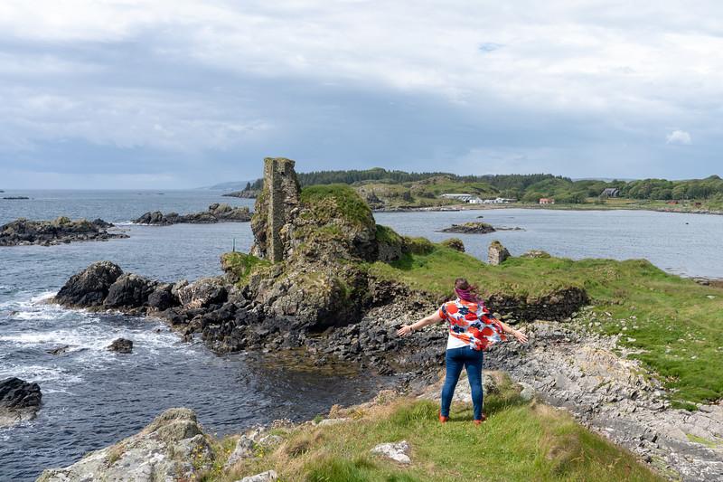 Amanda at Dunyvaig Castle on Islay