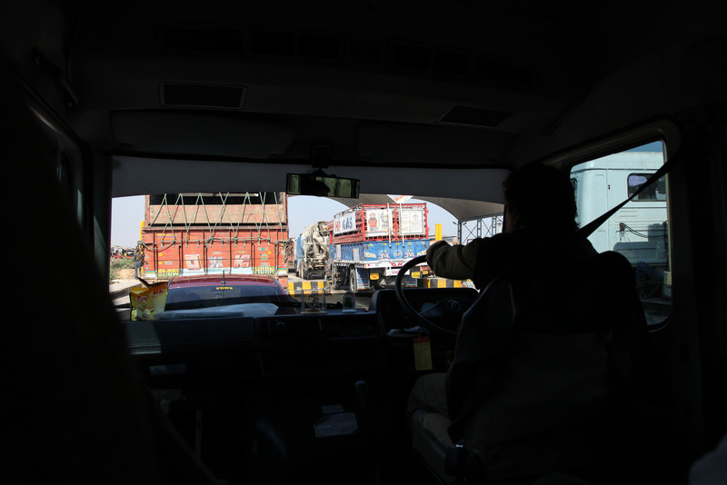 Traffic jam at the toll booth on the way from Ahmedabad to Jaipur.