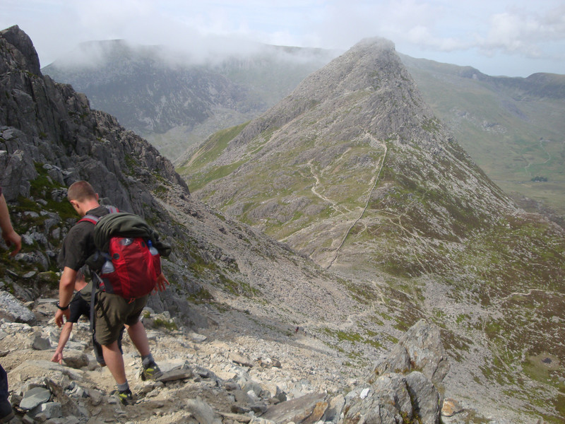 Descent of the treacherous Bristly Ridge scree slope. Tryfan is in the distance - our next stop.