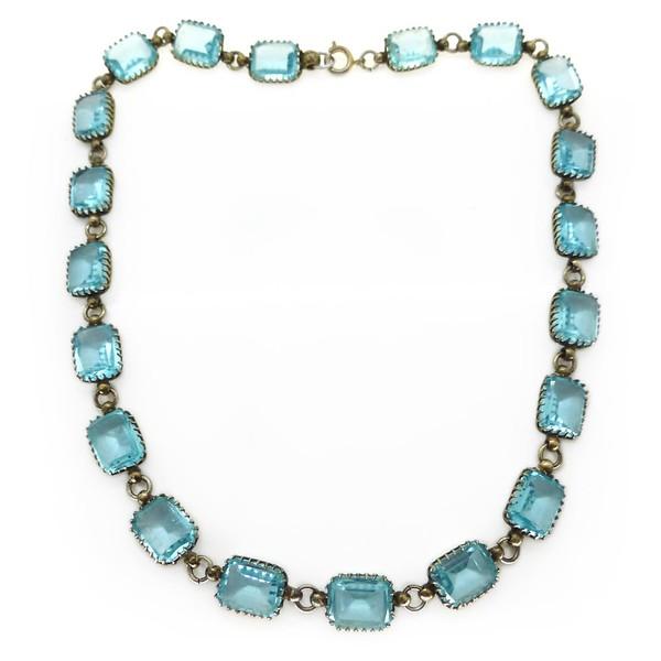 ANTIQUE EDWARDIAN BLUE AQUAMARINE GLASS PRONG SET PANEL NECKLACE