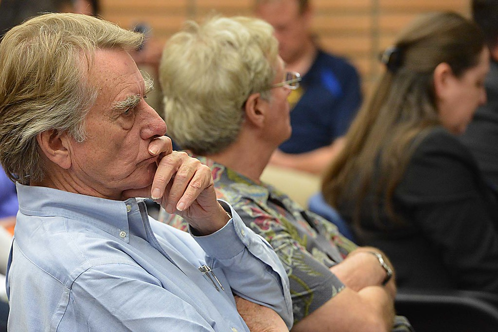 . For the first time since news broke of a controversial Holocaust essay assignment, the Rialto Unified School District School Board Wednesday night took �full responsibility� for the task, telling a packed board chamber that it was �horribly inappropriate.� (Photo by Rick Sforza/The Sun)