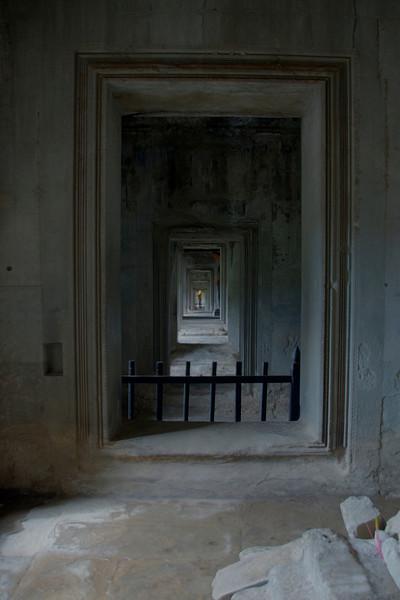 Series of doorways and long hallway at Angkor Wat