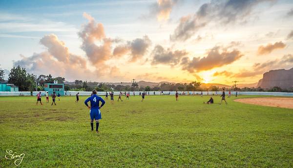 Exercising With A Sunset. Viñales, Cuba