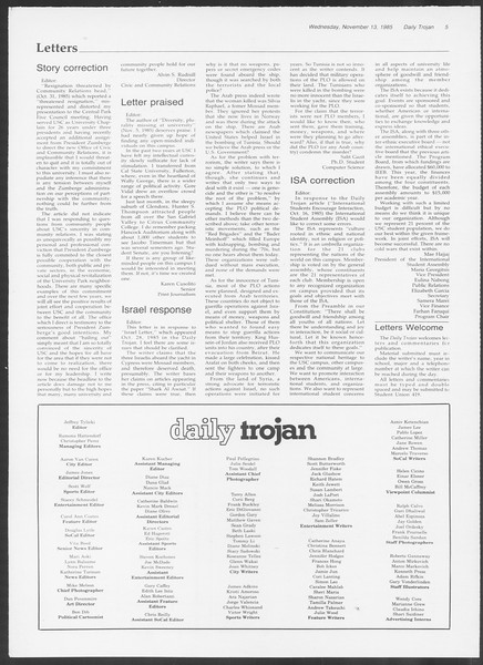 Daily Trojan, Vol. 100, No. 49, November 13, 1985
