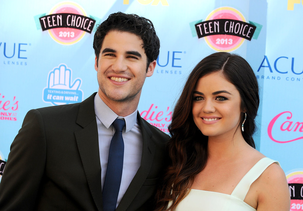 . Lucy Hale, right, and Darren Criss arrive at the Teen Choice Awards at the Gibson Amphitheater on Sunday, Aug. 11, 2013, in Los Angeles. (Photo by Jordan Strauss/Invision/AP)