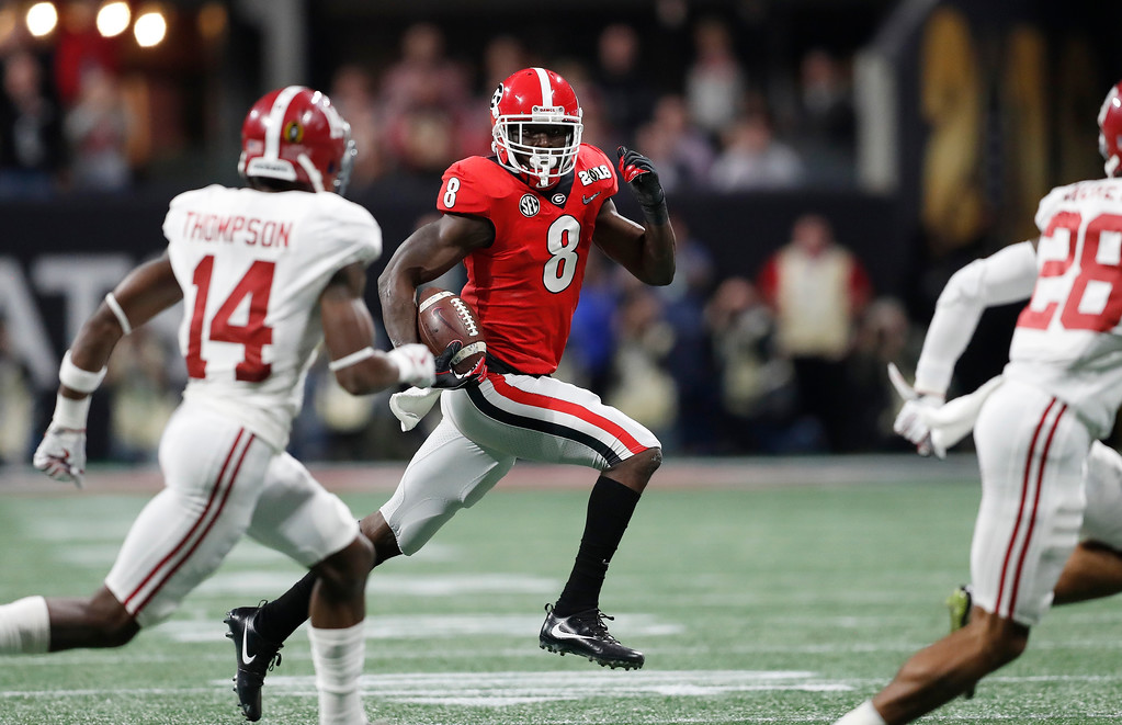 . Georgia\'s Riley Ridley runs during the first half of the NCAA college football playoff championship game against Alabama Monday, Jan. 8, 2018, in Atlanta. (AP Photo/David Goldman)