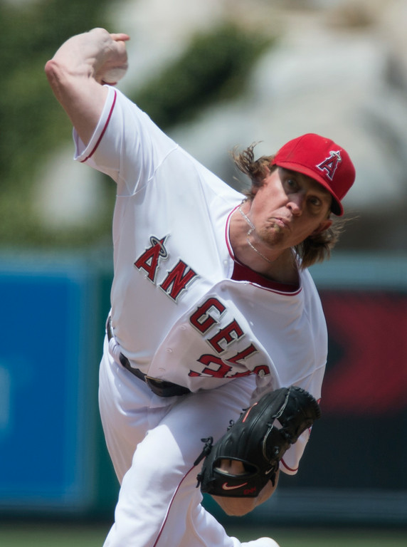 . Angels\' pitcher Jered Weaver makes a pitch as they play the Minnesota Twins at Angel Stadium in Anaheim on Thursday June 26, 2014. (Photo by Keith Durflinger/Whittier Daily News)