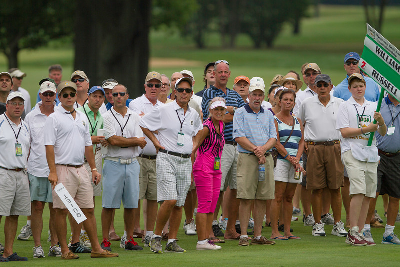 Spectators watch Jordan Russell and Chris Williams compete in the finals of match play  at the 2012 Western Amateur Championship at Exmoor Country Club in Highland Park, Ill., on Saturday, August 4, 2012. (WGA Photo/Charles Cherney)