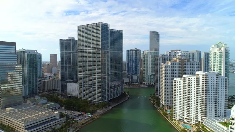 City aerial tour Brickell Miami Florida 4k