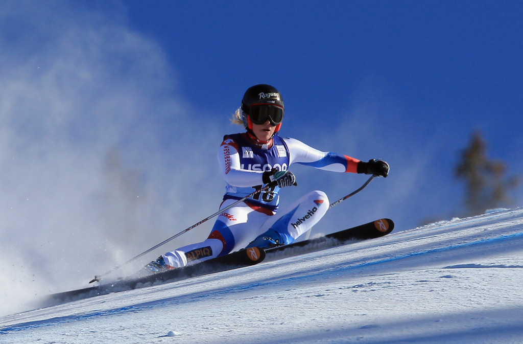 . Lara Gut of Switzerland skis to first place in the ladies\' Super G on Raptor at the Audi FIS Ski World Cup at Beaver Creek on November 30, 2013 in Beaver Creek, Colorado.  (Photo by Doug Pensinger/Getty Images)