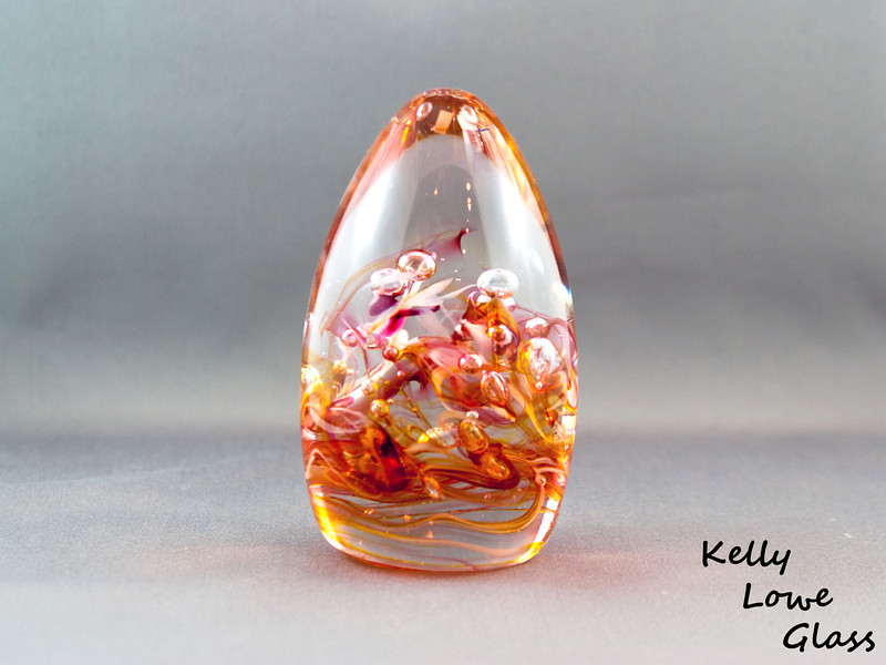 Teardrop Paperweight - Large - Gold Topaz and Ruby:  Widest Point: 6.5cm Height: 12cm Weight: Approx 685g.  The pictures included here are of the specific piece for sale.