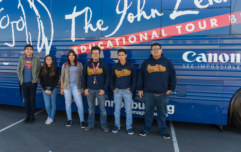 2016_01_26, Pomona, CA, Garey High School, canon, students, exterior, bus,