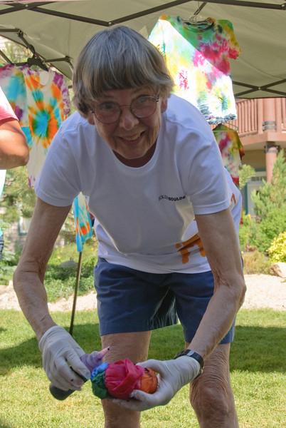 Judy doing tie dye.