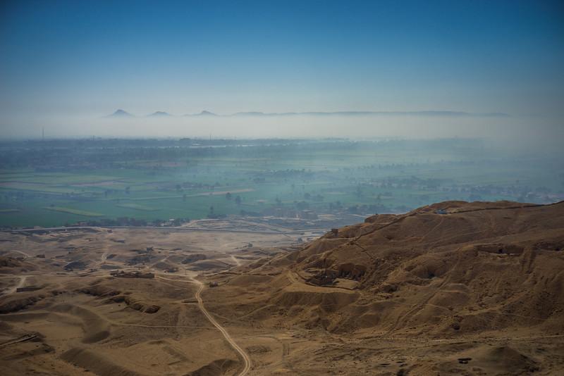 El valle del Nilo en Luxor desde el West Bank