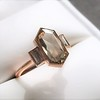 1.96ctw Fancy Golden Brown Hexagon Diamond and Baguette Trilogy Ring 4