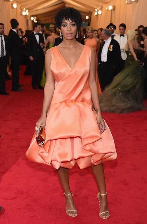 """. Solange Knowles attends the \""""Charles James: Beyond Fashion\"""" Costume Institute Gala at the Metropolitan Museum of Art on May 5, 2014 in New York City.  (Photo by Larry Busacca/Getty Images)"""