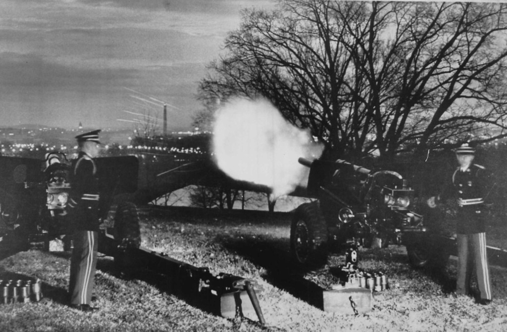 . With the Washington Monument in the background, a 76mm field artillery gun at Fort Myer, Va., fires at dawn on Nov. 23, 1963. A gun fired each half-hour from dawn to dusk at each army and Marine Corps base to render honor to the late commander in chief.
