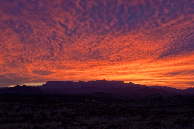 Fire in the Sky:  The sun about to rise over the Chisos Mountains, Thanksgiving Day 2009