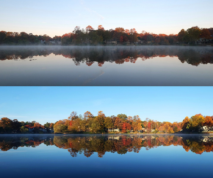 Lake Newport, before and after sunrise