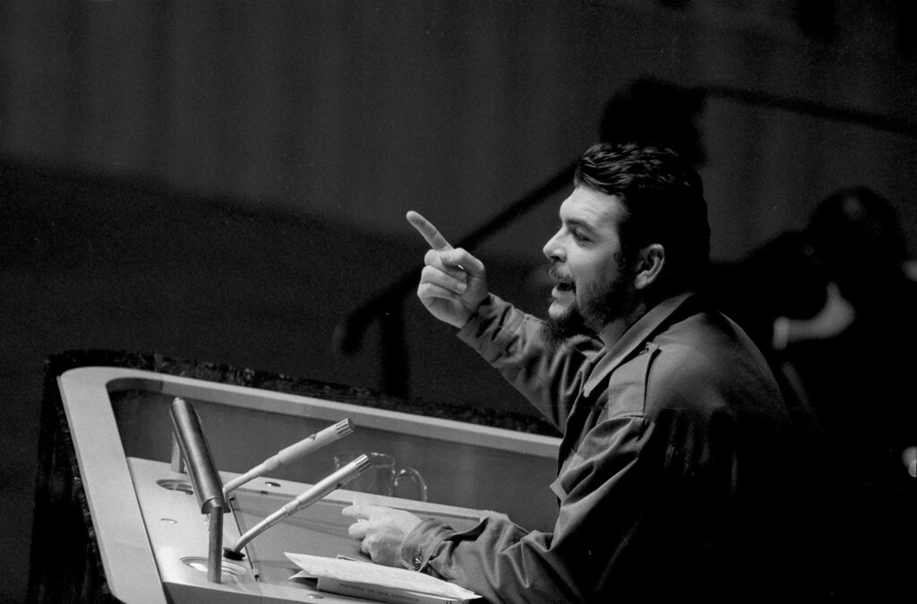 ". Cuban Industry Minister Ernesto ""Che\"" Guevara speaks before the United Nations General Assembly in New York, Dec. 11, 1964.  Guevara charged the U.S. with violating Cuba\'s territory, and attacked U.S. actions in the Congo, Vietnam, Cambodia, and Laos. (AP Photo)"