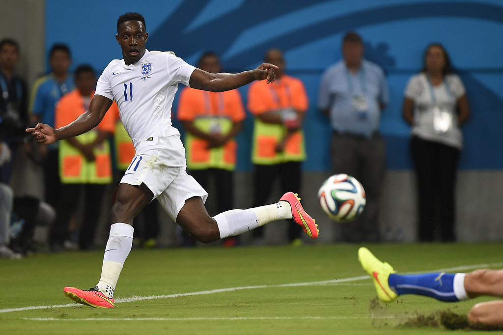 . England\'s forward Daniel Welbeck passes the ball during a Group D football match between England and Italy at the Amazonia Arena in Manaus during the 2014 FIFA World Cup on June 14, 2014.  AFP PHOTO / FABRICE COFFRINI