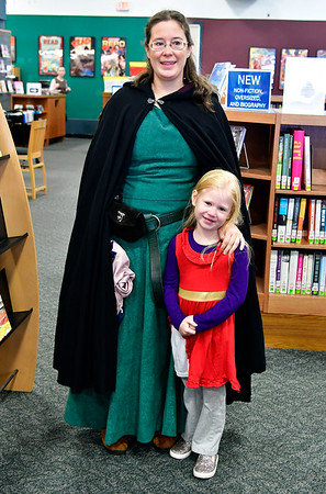 11/10/2018 Mike Orazzi   Staff Sarah Kastner and Abigail Berardino during a Renaissance Faire held at the Southington Public Library Saturday.