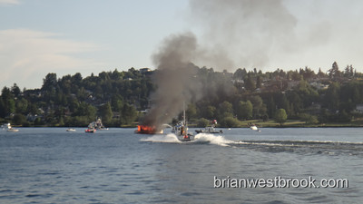 Boat Fire Lake Union-- Andrews Bay (13 August 2011)