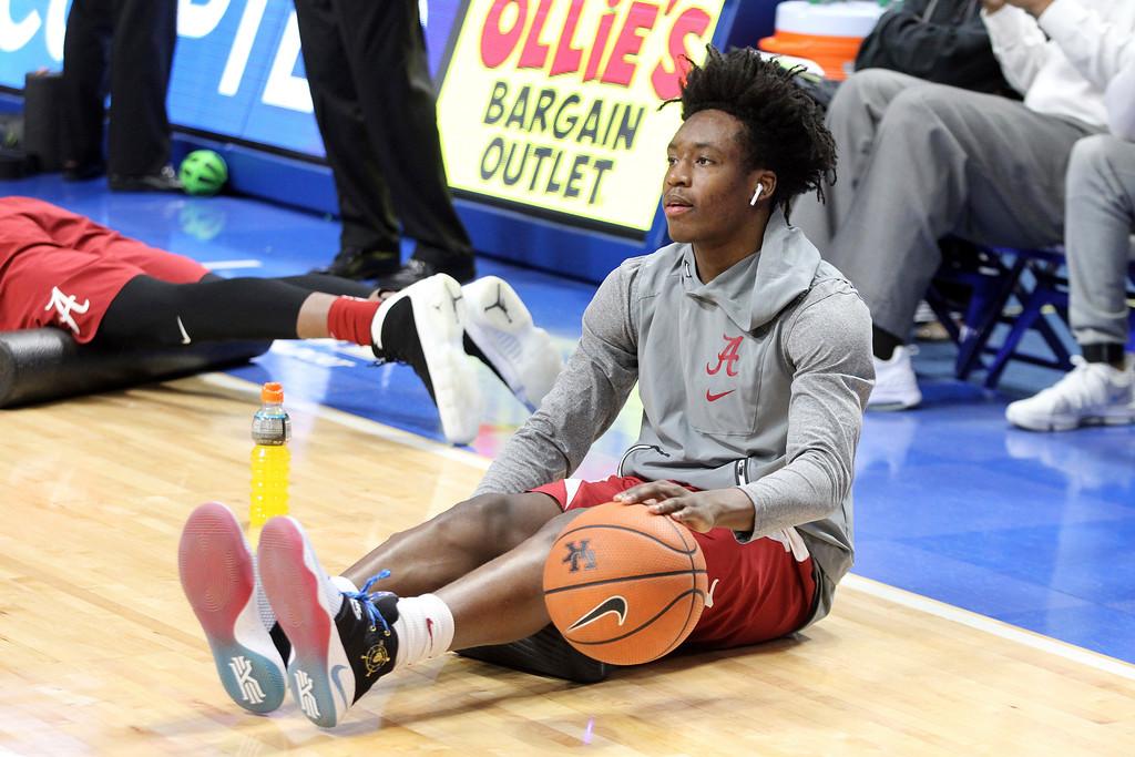 . Alabama\'s Collin Sexton warms up before an NCAA college basketball game against Kentucky, Saturday, Feb. 16, 2018, in Lexington, Ky. (AP Photo/James Crisp)