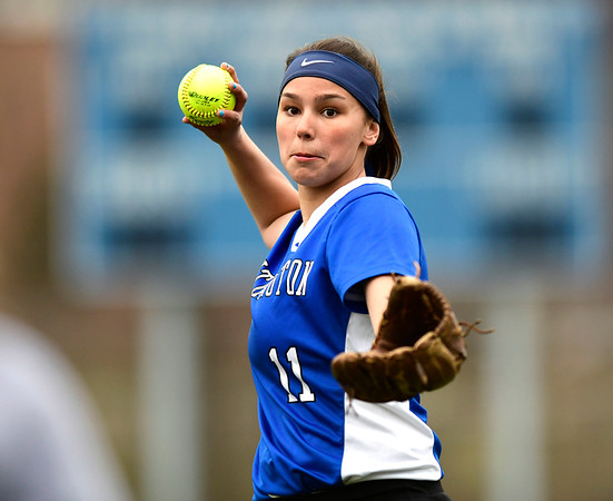4/9/2019 Mike Orazzi | Staff Southington's Katelyn Lipsky (11) during Tuesday's softball in Bristol.