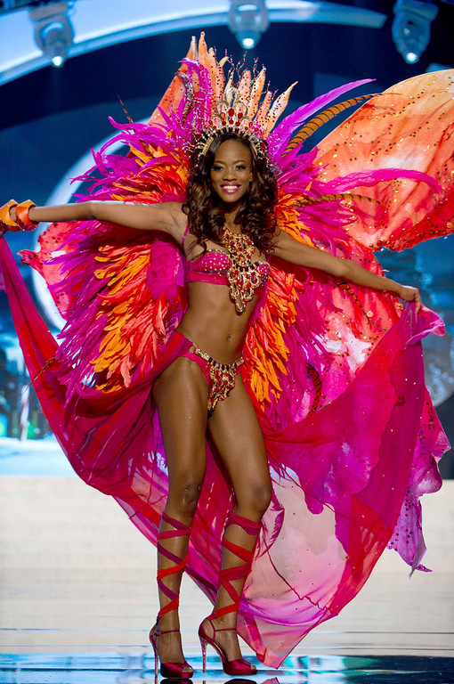 . Miss Trinidad & Tobago Avionne Mark performs onstage at the 2012 Miss Universe National Costume Show at PH Live in Las Vegas, Nevada December 14, 2012. The 89 Miss Universe Contestants will compete for the Diamond Nexus Crown on December 19, 2012. REUTERS/Darren Decker/Miss Universe Organization/Handout