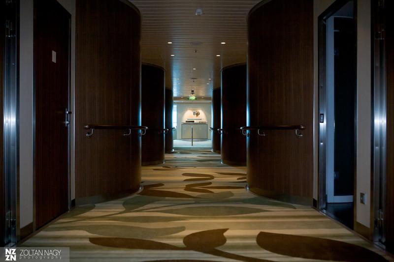 Entrances to treatment rooms in Aqua Spa