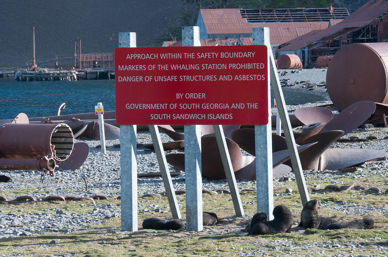 Sign at former whaling station in Stromness Bay