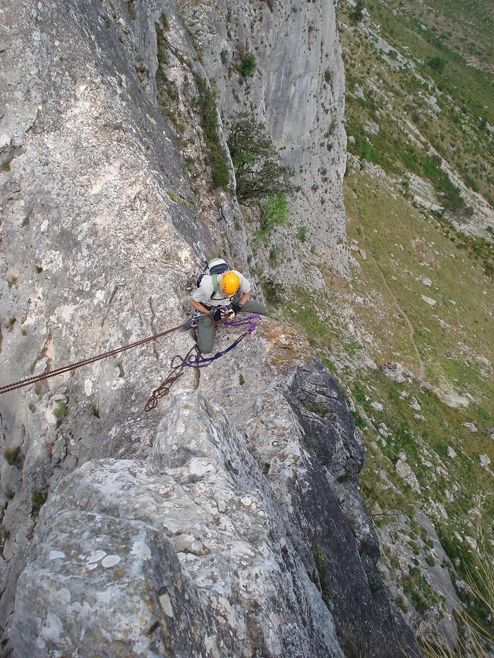 Vic belaying on the Bernia ridge