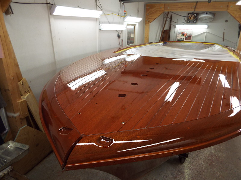 Sixth coat of finish applied after sanding out the hull.