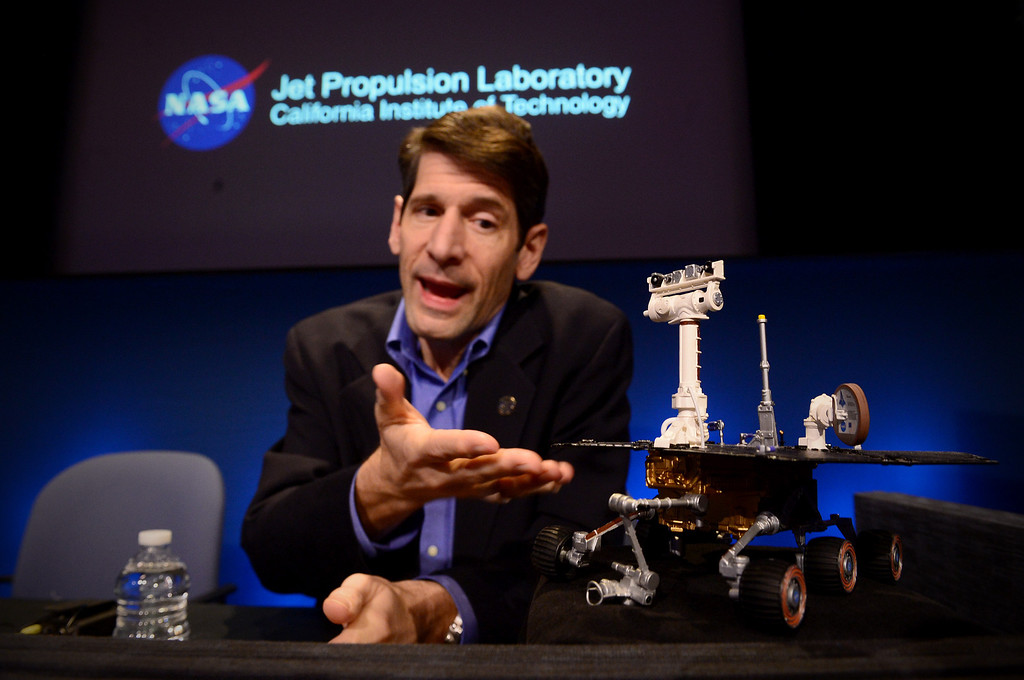 . With a model of Opportunity, John Callas, Mars Exploration Rovers project manager, talks about Opportunity\'s 10 years of exploring Mars at NASA\'s JPL in Pasadena Thursday, January 23, 2014. The rover was built for a three-month mission.  (Photo by Sarah Reingewirtz/Pasadena Star-News)