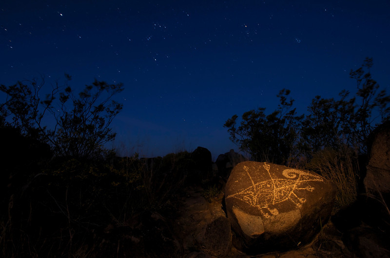 Three Rivers Petroglyph At Night #1
