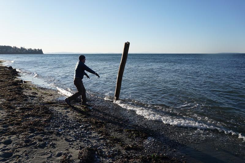 Peter liberating a few beach logs