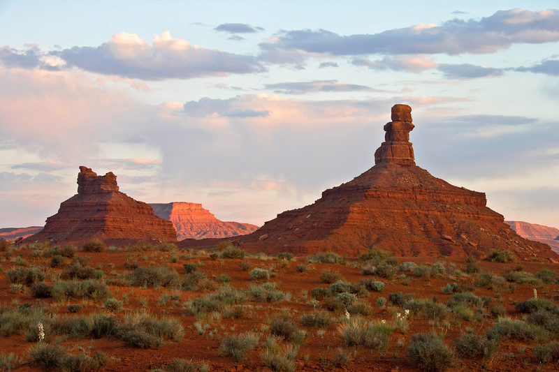 Mesas at sunset, Valley of the Gods near Bluff, Utah