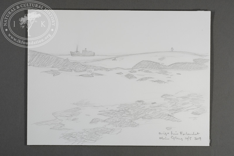 """M/S Origo drawn from the site of the Field Station at Prins Karls Forland 