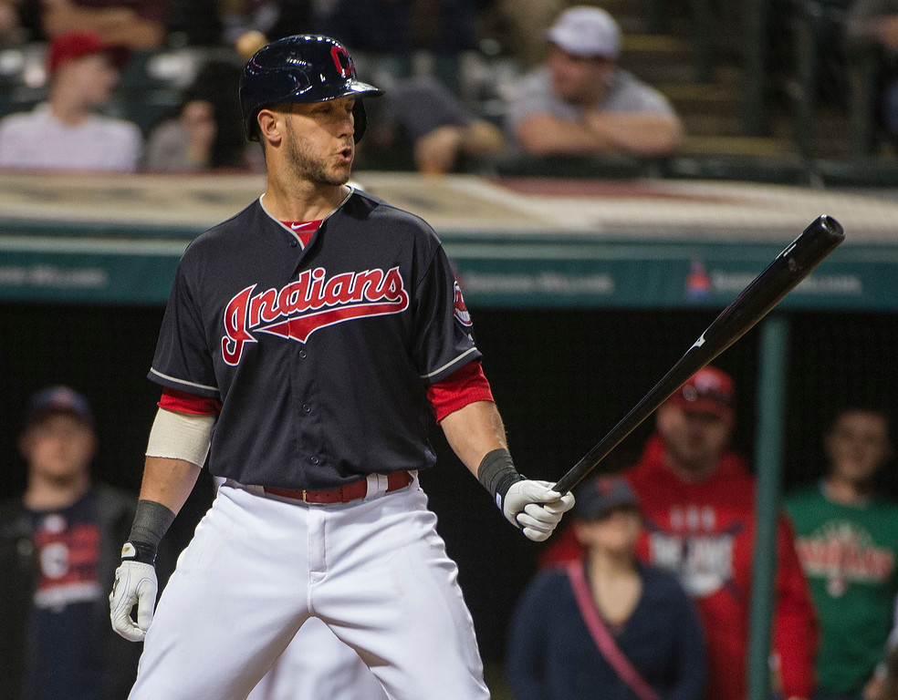 . Cleveland Indians Yan Gomes gets ready to face Seattle Mariners Steve Cishek during the ninth inning of a baseball game against the Seattle Mariners, in Cleveland, Wednesday, April 20, 2016. (AP Photo/Phil Long)