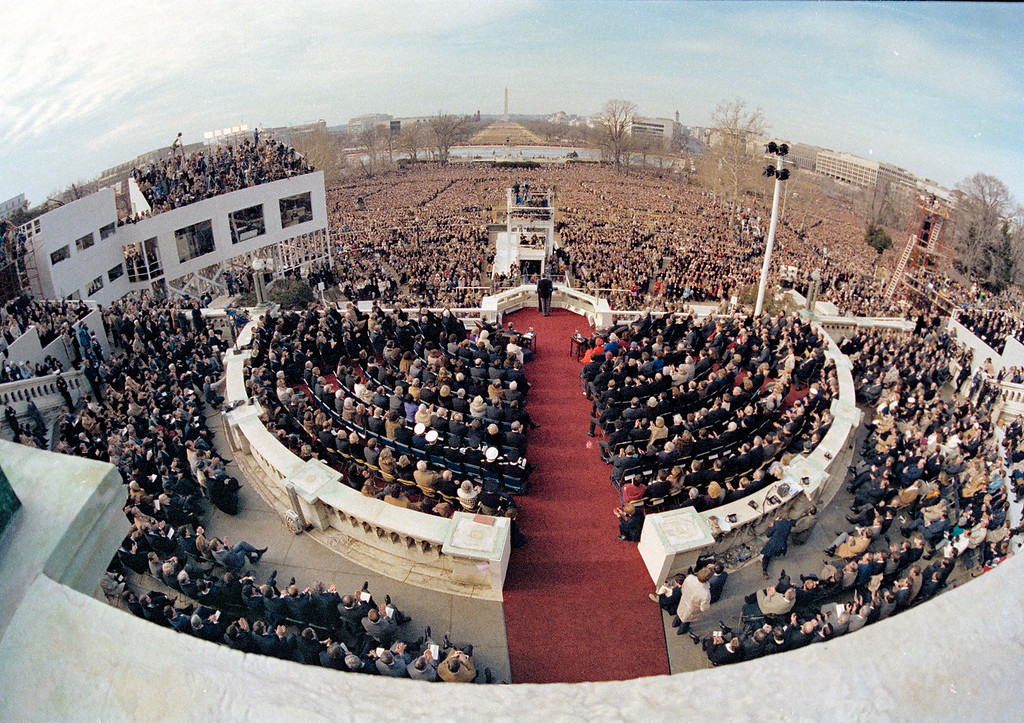 . In this Jan. 20, 1981 file photo, a wide angle view from the Capitol balcony as President Ronald Reagan, visible at center, addresses the nation following his swearing-in ceremony in Washington. (AP Photo)